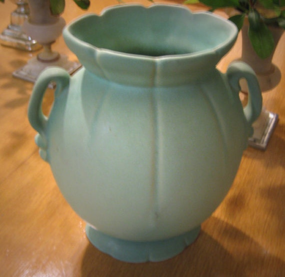 Antique Weller Scenic Vase Lrg Matte Green Art Pottery