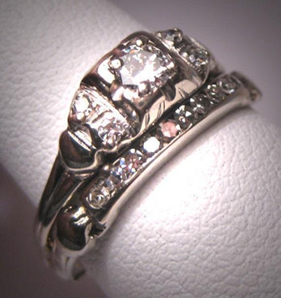 Antique Diamond Wedding Ring Set Vintage Art Deco Band