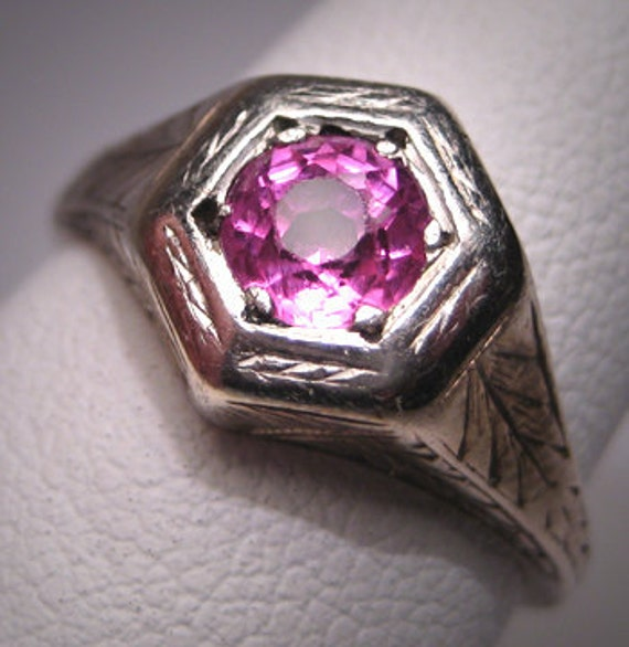 Antique Pink Ruby Sapphire Wedding Ring Vintage Art Deco 14K
