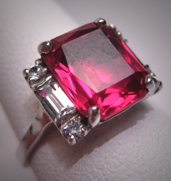 Antique Ruby Ring Vintage Art Deco Wedding W. Sapphire