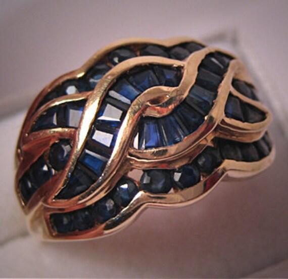 Estate Sapphire Ring Vintage Gold Fine Designer Jewelry Wedding Ring Wedding Band