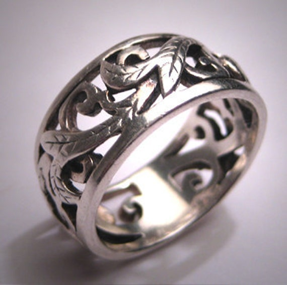 Vintage Ornate Silver Wedding Band Deco Eternity Ring