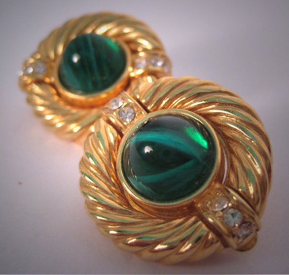 Vintage Costume Jewelry Givenchy Earrings Emerald Paris