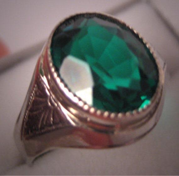 Antique Emerald Ring White Gold Deco Vintage Wedding