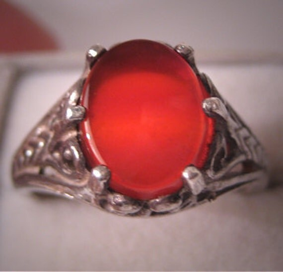 Antique Carnelian Ring Vintage Art Deco Filigree 1920