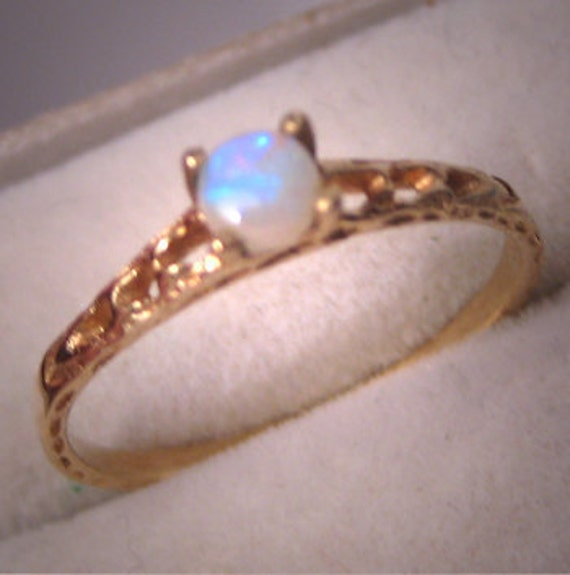 Estate Opal Gold Pinky Ring Yellow Filigree Jewelry