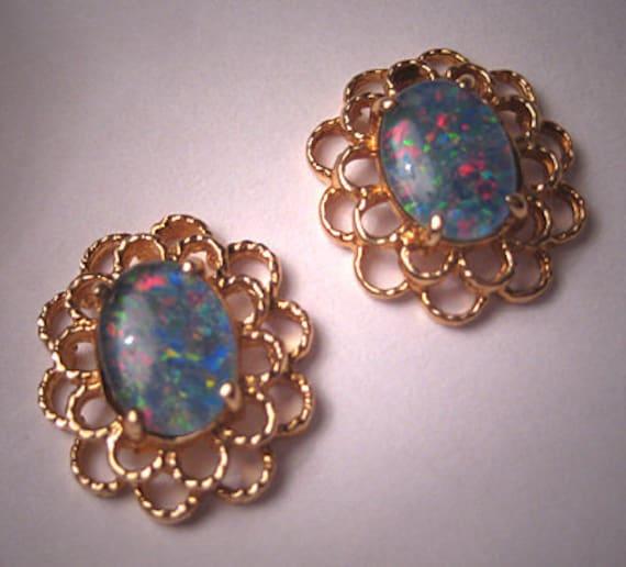 Estate Vintage Australian Opal Earrings Gold Jewelry