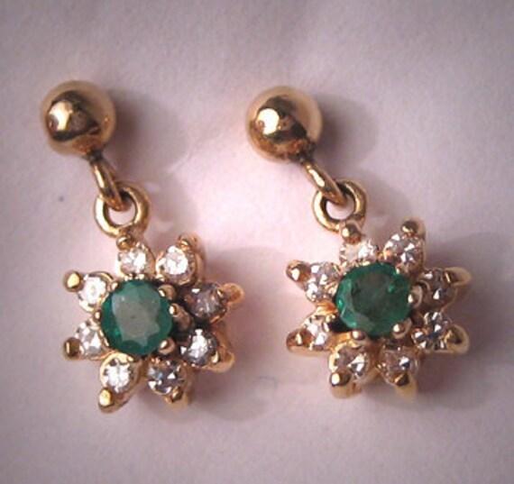 ON SALE Estate Emerald Diamond Earrings 14K Gold Vintage Drop