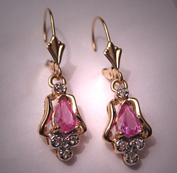 Estate Pink Tourmaline Diamond Earrings 14K Gld Vintage