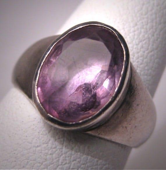 Vintage Amethyst Ring Sterling Silver Faceted Gemstone