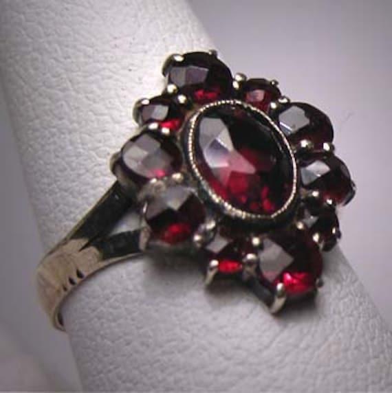 Antique Garnet Ring Vintage Victorian Bohemian Rose Cut