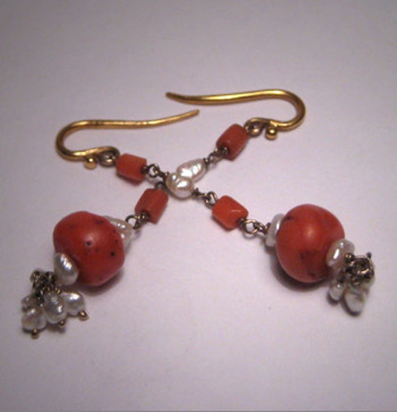 Antique Coral Pearl Earrings Vintage Dangle 18K Gold