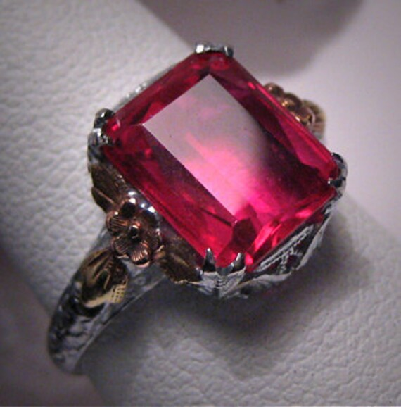 Antique Ruby Ring Vintage Art Deco Wedding White Gold 6