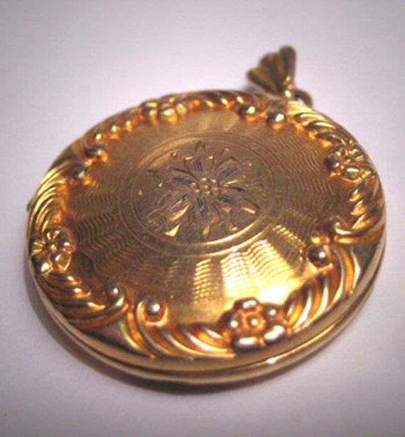 Antique Gold Locket Pendant Victorian Art Deco Vintage