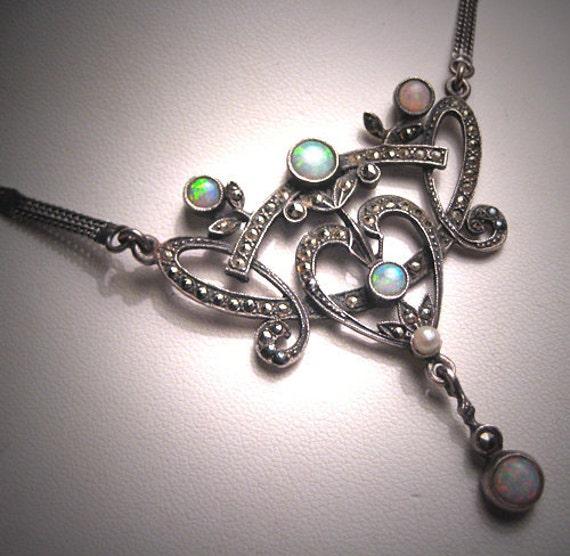Antique Opal Necklace Vintage Art Nouveau Victorian