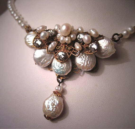 Designer Baroque Pearl Necklace with Filigree Vintage Inspired Wedding Necklace