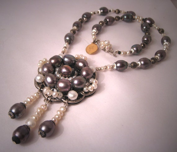 Black Pearl Necklace - Handmade Designer Jewelry Wedding - Bridal