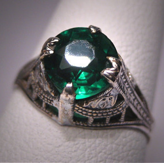 Antique Art Deco Green Garnet Wedding Ring Vintage Band