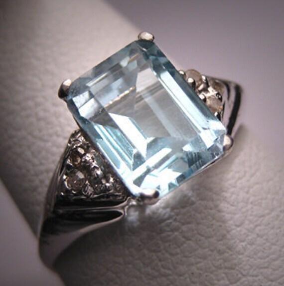 Antique Aquamarine Diamond Wedding Ring Vintage Deco