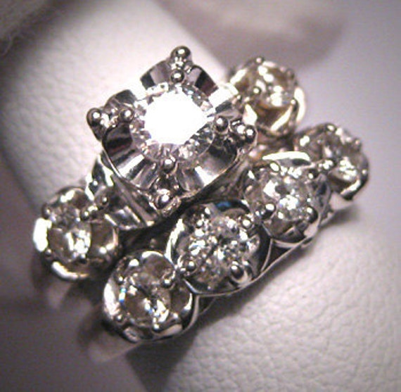 Vintage Wedding Ring Sets: Antique 1ct Diamond Wedding Ring Set Vintage Art Deco
