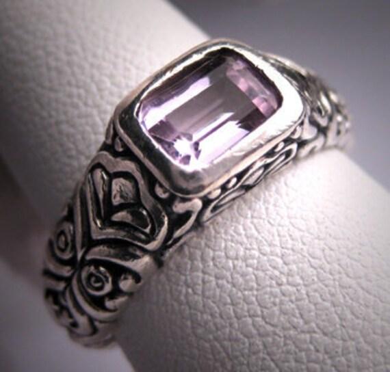 Vintage Estate Amethyst Ring Designer Silver Setting