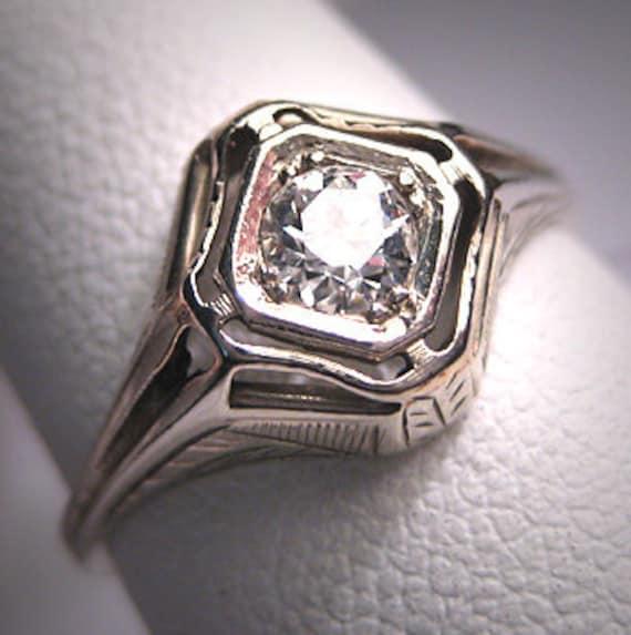 Antique Diamond Wedding Ring Vintage Ostby Barton Titanic Art Deco