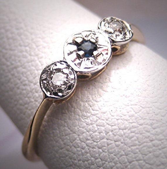 ON HOLD Antique Platinum Sapphire Diamond Wedding Ring Band 20s