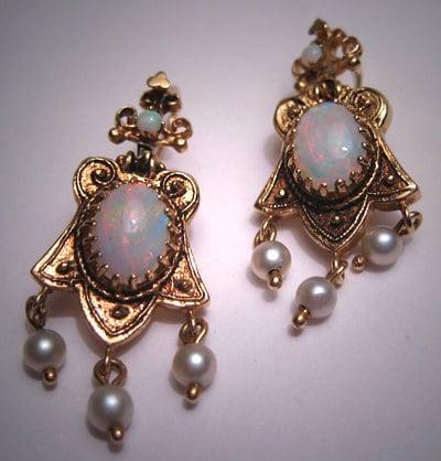 antique opal earrings vintage etruscan gold