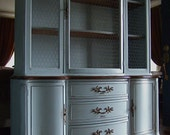 Lightly Distressed French Country Hutch in a French Grey-Blue with Walnut Wood top and antiqued Chicken Wire