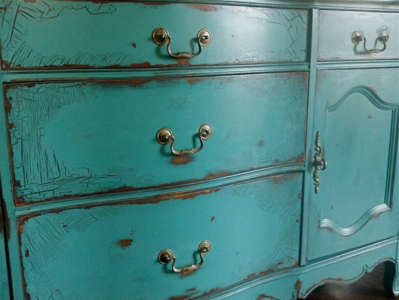 French Provincial Buffet in an Antiqued Teal Green Finish