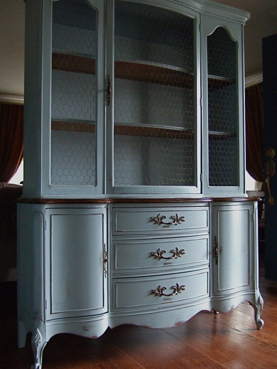 Lightly Distressed French Country Hutch In A French Grey-Blue