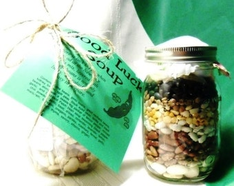 Jar Soup Mixes, Good Luck Soup, Patchwork Soup or Texas Two-step Soup in a Mason Jar