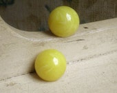 1960s Button Earrings - Daffodil Yellow Marble Swirl Lucite