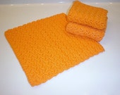 RESERVED FOR JANAE  Crochet Washcloths, Set of 3, Crochet Dishcloths, 100% Cotton Dishcloths