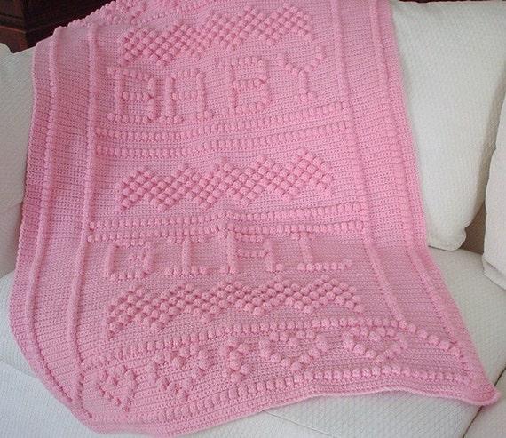 Puffy Crochet Baby Blanket Pattern : Crochet Baby Blanket Crochet Pink Puff Stitch Blanket