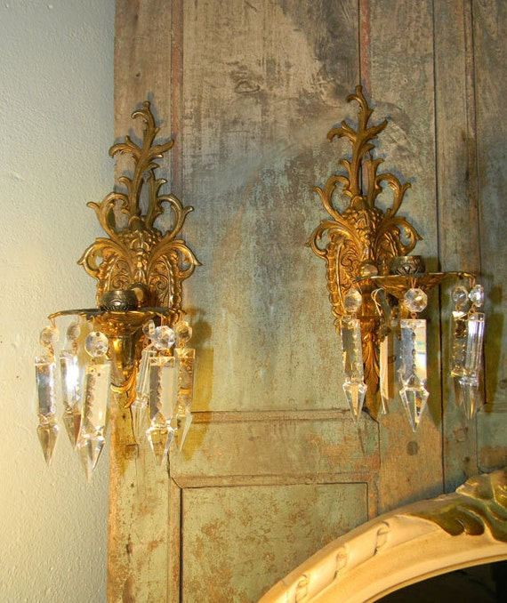 Pair of Vintage Bronze Crystal Candle Sconces