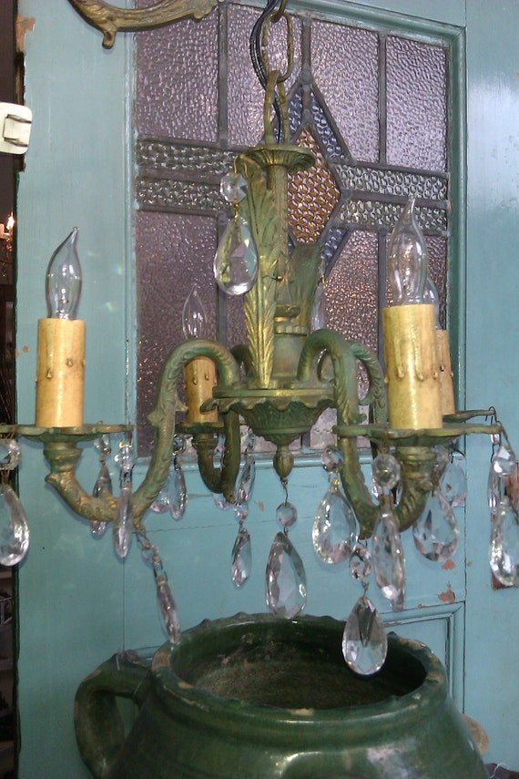 Antique French Petite Chandelier Sconce
