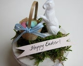Easter Gift Box - Treasure Trinket Jewelry Candy Container - Vintage Feel - Shabby Chic Woodland - White Rabbit Eggs Basket - Keepsake
