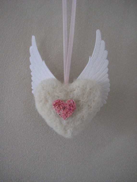 Winged Heart Felt Ornament