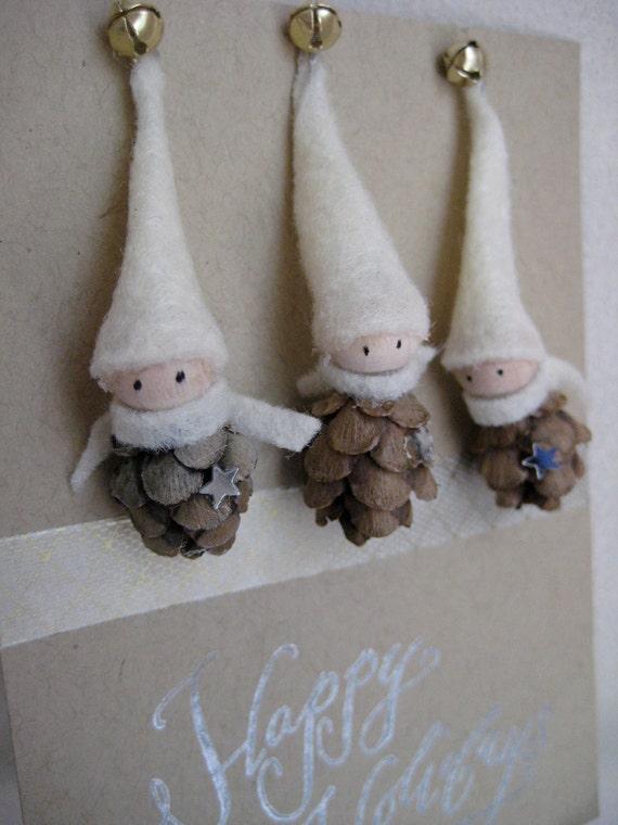 "2"" Tiny Pine Cone Elves -- set of 3 ornaments"