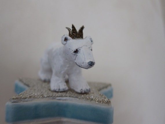 Polar Bear Prince -- Decorative Box with Magical Miniature Sculpture on Lid -- Trinket Container