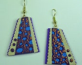 Retro Earrings Crazy Stripe Polymer Clay 3D in Aqua, White and Purple