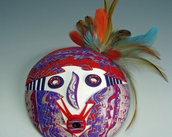 Sweet Medicine Kachina Mask Polymer Clay in Purple, Red and White Tribal Mask