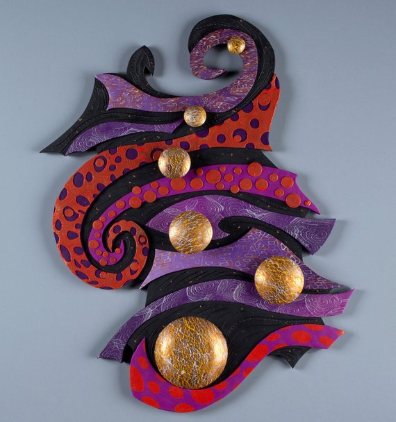 Currents of Space Polymer Clay Wall Art 3D in Red, Purple,  Black, & Gold