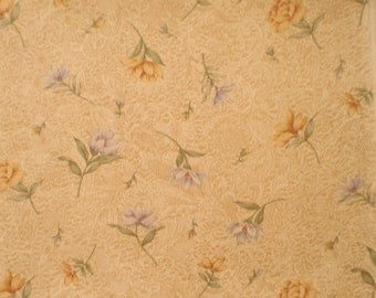 Destash - Tan Background with floral print - 1 Yard - 1003