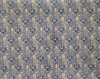 Destash - Blue and Cream print - 1 Yard - item 1010