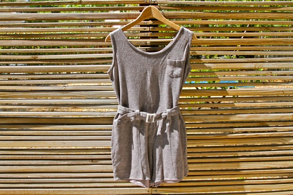 vintage 70s heathered brown t-shirt romper jumper with belt