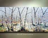 Original Winter Birch tree Aspen Abstract Art painting Birch tree flower Large 48x24 Modern Contemporary Painting by OTO