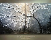 ORIGINAL 2 canvases diptych tree white Flowers Abstract Painting Art Landscape painting artwork 36x24 Modern Contemporary art Texture by OTO