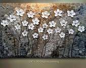 ORIGINAL 36x24 White Flower Abstract Painting tan Floral Impasto Landscape Artwork Textured Modern Contemporary art by OTO